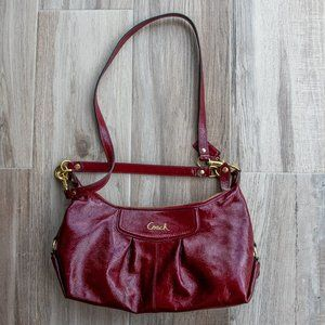 Coach red patent leather crossbody handbag